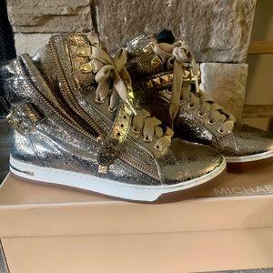 Michael Kors High Top Gold Sneakers
